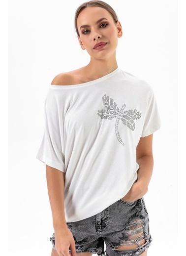 Emjey Büyük Yusufçuk Taşlı T-Shirt Beyaz